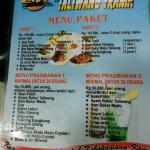 Harga menu paket di Lesehan Taliwang Irama, Lombok