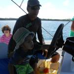 Helping Nigel drive the boat