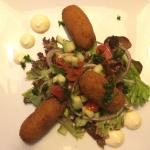 Fish croquettes with mayo and salad.  Amazing starter.