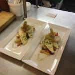 Fish of the day, Fresh Sole fillets on a home grown warm vegetable salad with tempura basil flow