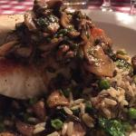 Chilean sea bass with a Marsala reduction, mushrooms, onion, roasted brussel sprouts and rice. F