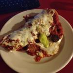 Very tasty open faced Spicy sausage sandwich with marina and mozzarella