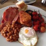 Top breakfast - Lashfords sausage, home smoked bacon & smoked vine tomatoes...