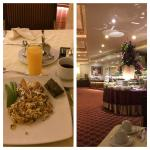 Machacado con huevo y mini tamal en el elegante restaurante del Safi Valle