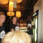 staff with birthday cake