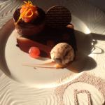 Belgian chocolate & blood orange torte with brownie ice cream :)
