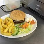 Burger, chips and salad