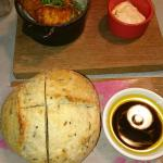 Rosemary bread served warm, with oil and balsamic. 
