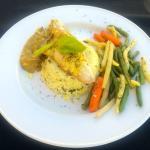 Grilled Pickerel on Saffron Rice