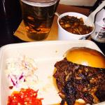 Burned-ends in a bun with chillies & slaw. Side of burned-end-beans & a beer. The best BBQ I've