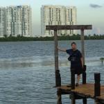 Patio del hotel con vista a la Laguna de Cancun