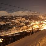 Hemsedal at night from the Skarsnuten Chair Lift