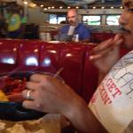 The birthday boy enjoying his meal!