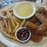 Chicken strips with seasoned frys,honey mustard!!!yummy;0))
