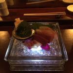 sashimi, bluefin tuna , baby yellowtail, live abalone fresh wasabi