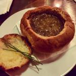 Onion soup in a bread bowl