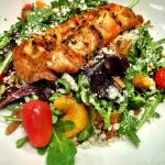 Salmon & Arugula Salad with Apple-Soy Vinaigrette