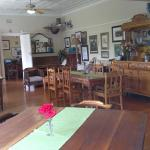 Dining room with original pressed ceilings and wooden floors