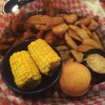 Catfish, fries, corn, and excellent corn bread!