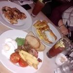 Full English, Chicken Snitzel, Blueberry Pancakes