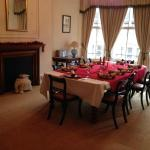 The Dining room set up for Christmas Day