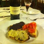 Starter plate arrived with the Lambrusco . Fresh and tasty
