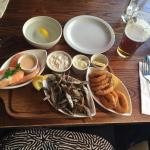 Seafood mezze (basket of bread out of shot)
