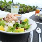 An excellent salad with exceptional view.