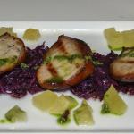 Grilled smoked pork with sour red cabbage