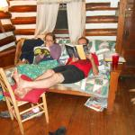 The living room was a wonderful place to read and relax.  BTW, all the clutter is ours!