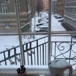 Snowy Stockholm from window of Room # 405