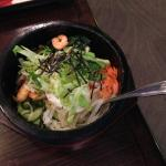 The Shrimp Bibimbap Hot Stone Bowl.