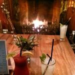 Cocktails by the open fire