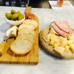 Delicious cheese board to go with the wine tasting. The Mortadella truffle cheese were my favori