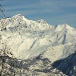 High Alps surround Aosta Valley. Magnificent view from I Picchi