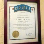 Rio Grill Thanks to Talbott Vineyards, Carmel, Ca