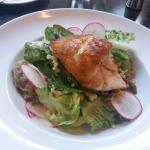 Snapper,  pan fried over salad, $33