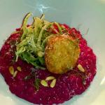 Beautiful Beetroot risotto. Goat cheese and fennel .