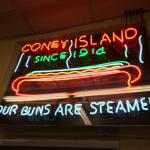 Cool neon sign at rear of restaurant.