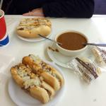 Delicious coneys and a bowl of their beanless chili. Both were super!