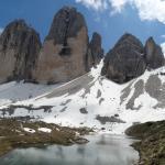 Seen auf der Nordseite der drei Zinnen bei der langen Alpe