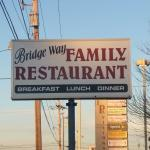 The sign for Bridge Way Family Restaurant