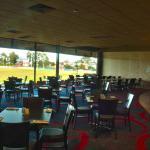 Views of Eureka Stadium whilst dining.