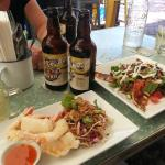 Tempura Prawns and Lamb Halumi Salad & Ginger Beer