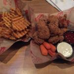 Wings and waffle fries