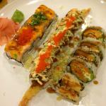 Left to right, Mountain roll Kamikaze roll Sweet potato roll