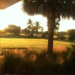 Grass driving range at daybreak