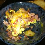 Ham, bacon, eggs and potato with cheese hash...