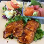 Salmon teriyaki and sashimi lunch