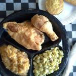 Southern fare!  Fried chicken, fresh rutabagas & butter beans